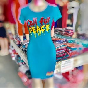 Dresses & Skirts - CALL FOR PEACE Graphic Printed…